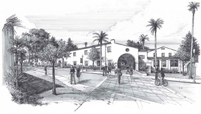 drawing of santa cruz village student housing.
