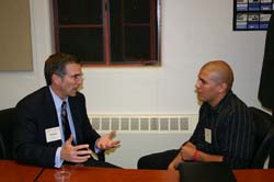 B&TP Mentor Fleming Jones (McDermott & Bull Executive Search) gives advice to alumnus David Garcia '06