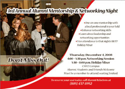 Picture of advertisement for aumni mentorship and networking night
