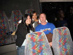 Photo of Students on the bus ride to Dodgers Stadium