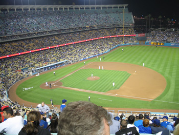Dodger Stadium and the field from first base side