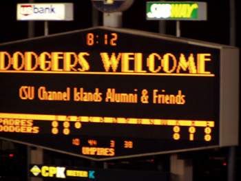 Dodgers Score board welcoming CSU Channel Islands Alumni and Friends