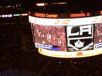 CI Students on the Jumbo Screen at Staples Center