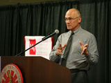 Puzder speaking to the audience
