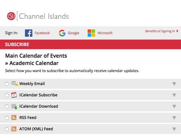 Subscribe to the Academic Calendar