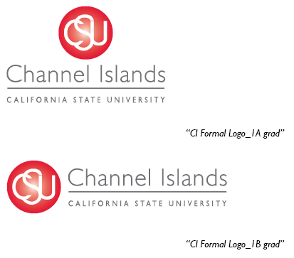 1A logo (red to white gradient sphere with the letters CSU in white and California State University Channel Islands in grey below the sphere); The 1B Logo has the University name to the right.