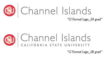 2A logo (red to white gradient sphere with the letters CSU in white and Channel Islands in grey to the right of the sphere); The 2B Logo has California State University Channel Islands in grey to the right.