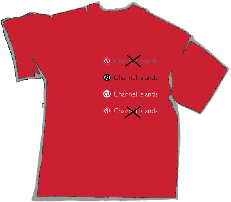 Red shirt with logo examples