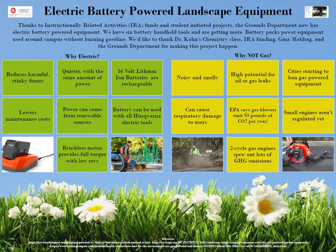 Earth Day poster for new electric landscaping equipment