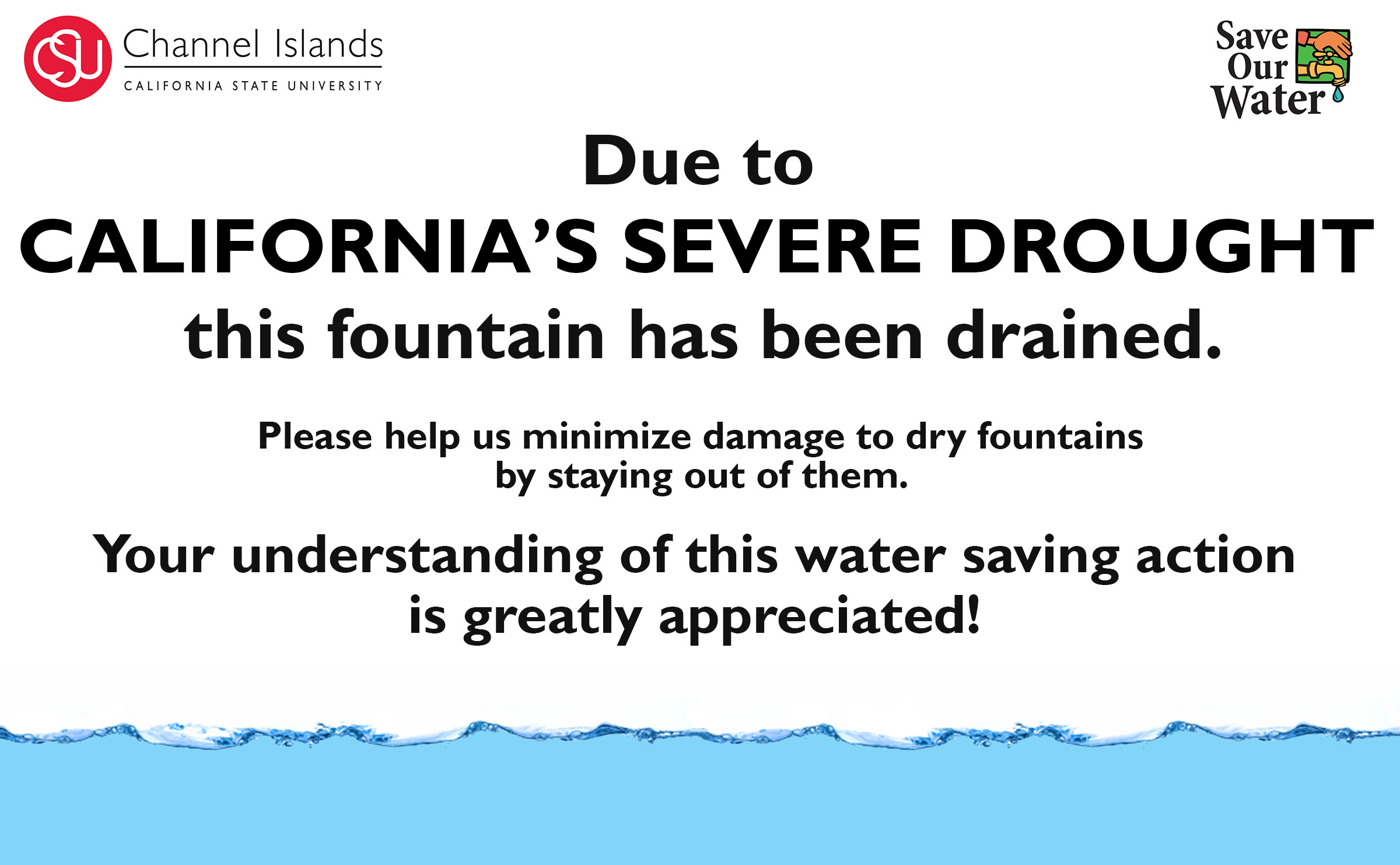 Fountain Drought Sign