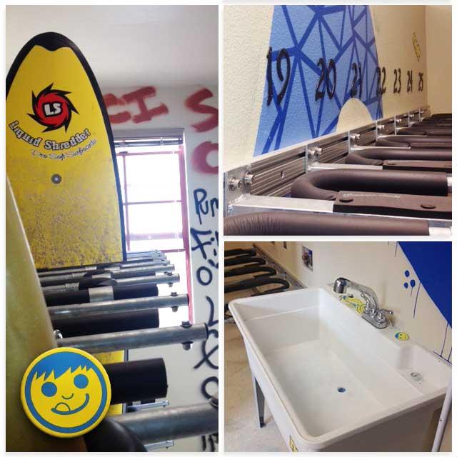 ... Surfboard Storage Room   Lockers U0026 Sink Area ...