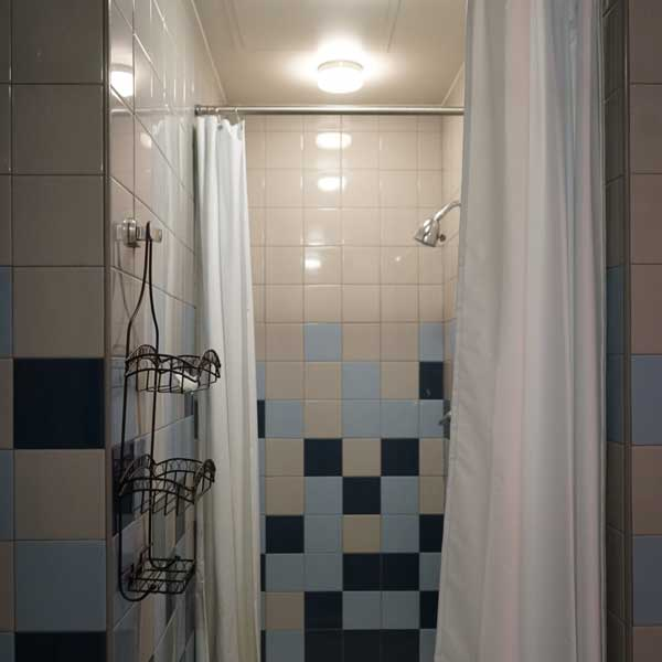 Shower Stall with Double Curtain & Changing Area
