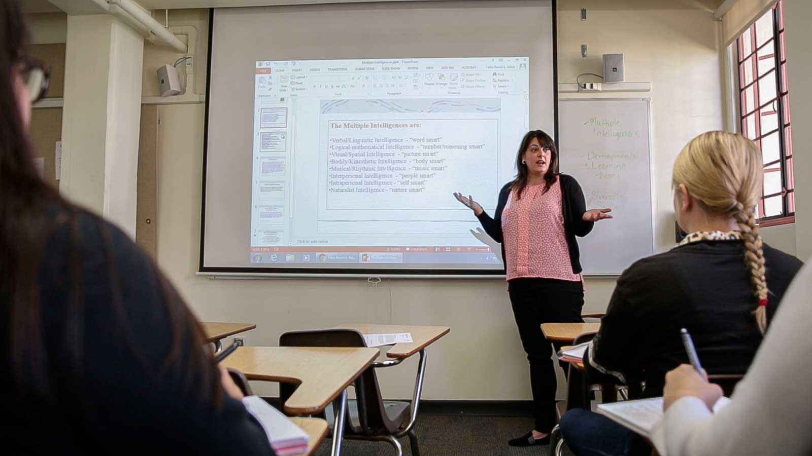 Adria Taha-Resnick lectures on Multiple Intelligences in an Early Childhood Studies class