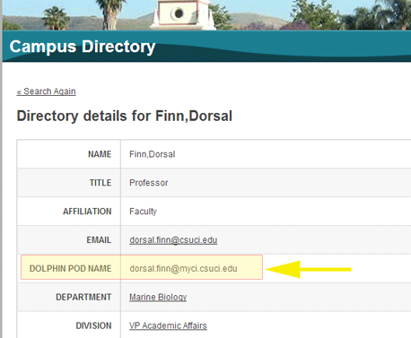 Screenshot of Campus Directory entry, highlighting Dolphin Pod Name field