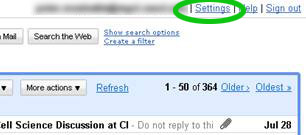 screenshot of Settings link
