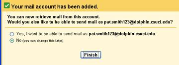 screenshot of send mail account screen