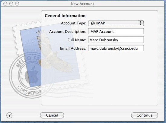 Screenshot of General Information dialog