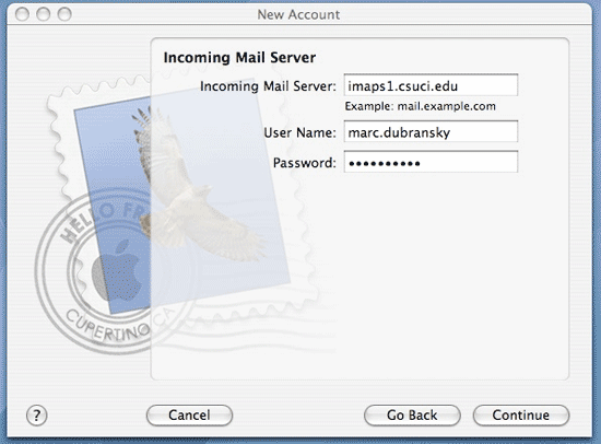 Screenshot of Incoming Mail Server dialog