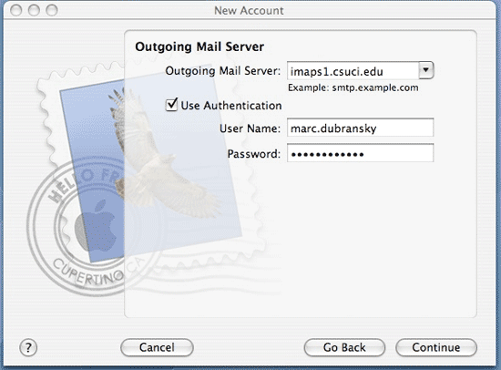 Screenshot of Outgoing Mail Server dialog