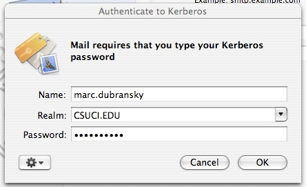 Screenshot of Authenticate to Kerberos dialog