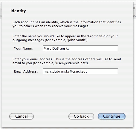 "Screenshot of Identity window; includes 2 fields to be filled out: ""Your Name"" and ""Email Address"""