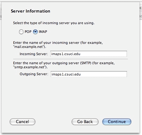 Screenshot of Server Information window