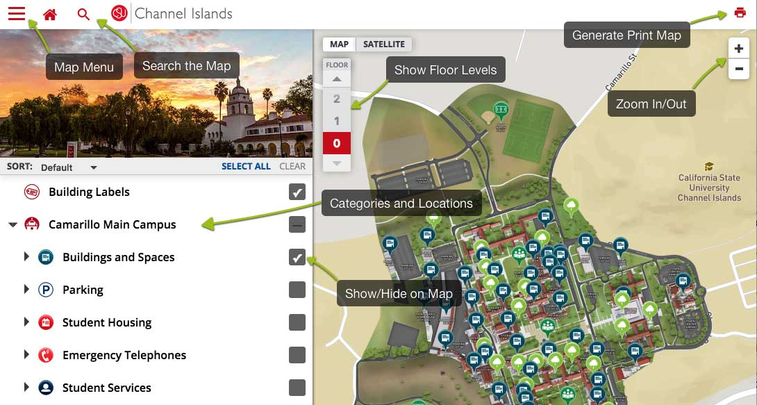 Screenshot of map: map menu, search icon, floors selector, zoom in and out