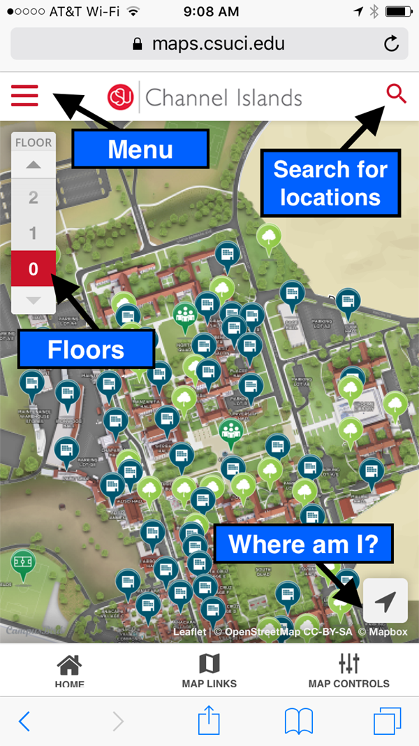 screenshot of mobile map; menu icon in upper left corner; floors menu; pointer to find location