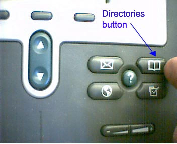 Cisco IP Phone, Directories button (upper-right button in group of 4)