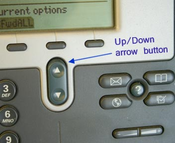 The up and down arrow button is located bellow the four buttons below the display screen.
