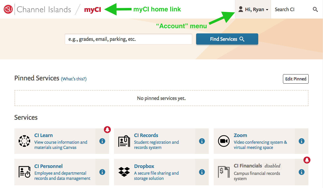 Screenshot of new myCI layout