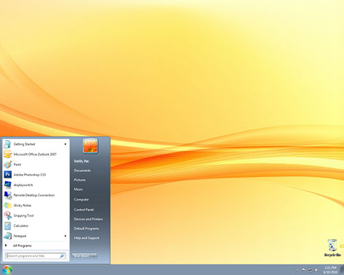 Screenshot of Desktop with Start Menu open