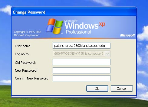 The Change Password dialog box, with text fields used to set the new password