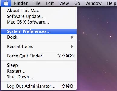 Figure 1: Selecting System Preferences