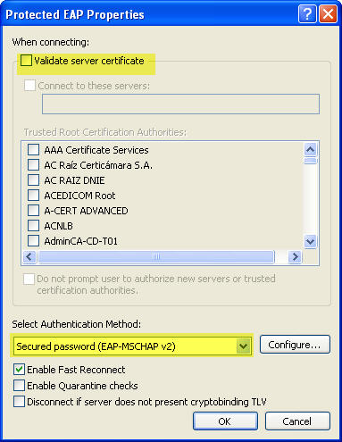 "Screenshot showing the 'Validate server certificate' checkbox unchecked and the ""Select Authentication Method"" set to ""Secured password (EAP-MSCHAP v2)"" in the Protected EAP Properties dialog"