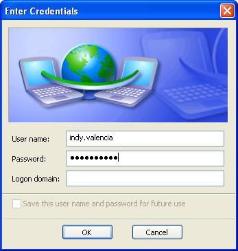 Screenshot showing the dialog where you enter your username and password