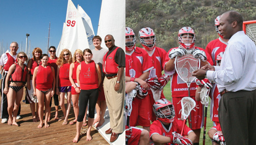 Athletic Director Carl Reed with sailing and lacrosse clubs