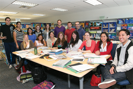 Professor Manuel Correia and students from Literacy 1: Multicultural/Multilingual class