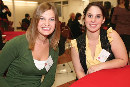 Vanessa Woodward '08 and Mentee Elysse Farnell (student) at the 2010 Alumni Mentorship & Networking Night.