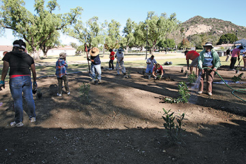Campus and community volunteers at CI Planting Days