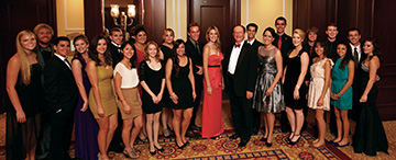 President Rush and students