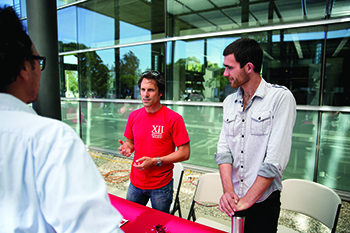 Martin Loeffler and Steven Jordan spread the word about CISB at various campus events