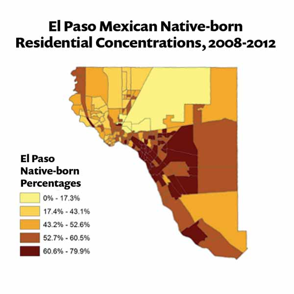 Map showing El Paso Mexican Native-born Residential Concentrations, 2008-2012