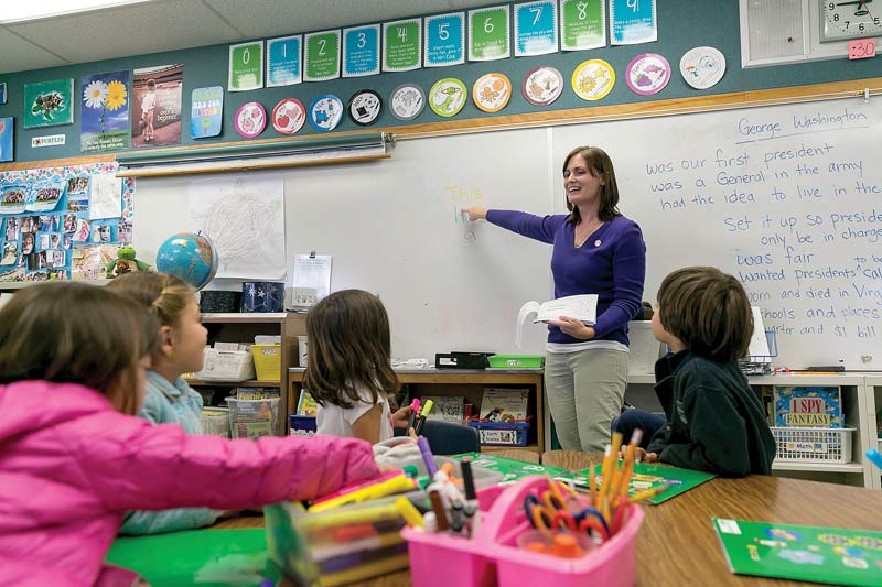 Heather Gout co-teaches a class of kindergarten and first grade students at University Preparatory Charter School