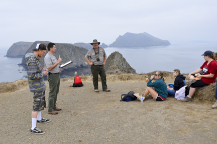 Park rangers talk with CI students about island ecosystems