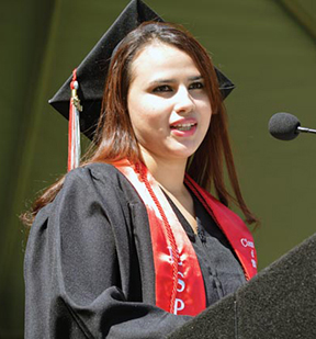 Martha Torres-Mendez speaks at commencement