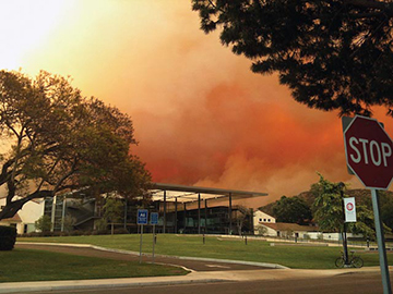The Camarillo Springs fire creeps behind Broome Library