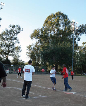 Corporate games kickball game