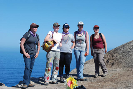 Perry (shown on left) and her UNIV 498 students on a field trip to Santa Cruz Island in April 2013 to conduct archaeological fieldwork on behalf of Channel Islands National Park