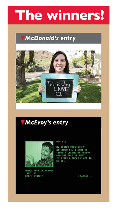 Screenshots of McDonalds' and McEvoys' entries